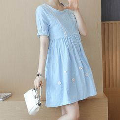 EZ Life - Maternity Short-Sleeve Embroidered Mini A-Line Dress