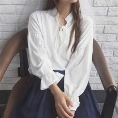 MYT Candy - Long-Sleeve Tie-Neck Blouse