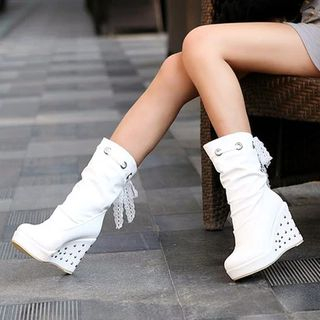 Shoes Galore - Platform Wedge Mid Calf Boots