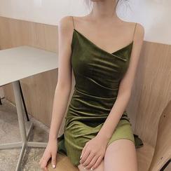 Alfie - Velvet Slim Fit Spaghetti Strap Dress
