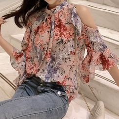 IKIO - 3/4-Sleeve Cold Shoulder Floral Print Chiffon Top