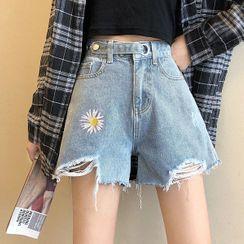 Shopherd - Floral Embroidery Denim Shorts