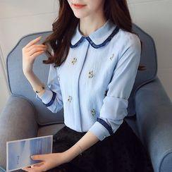 Kearen - Floral Embroidery Chiffon Shirt