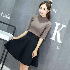 CHATNOIRE - Plain A-Line Skirt