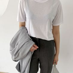 NIPONJJUYA - Round-Neck Plain T-Shirt