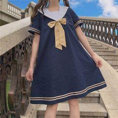 AKANYA - Bow Accent Short-Sleeve Shift Dress