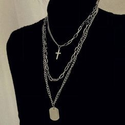 Catalunya(カタルーニャ) - Cross & Tag Pendant Layered Necklace