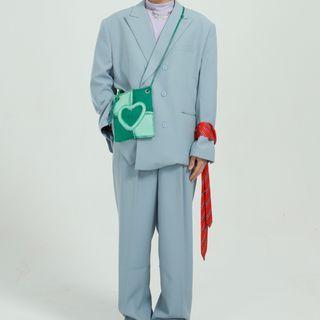 FAERIS - Double-Breasted Blazer / Wide-Leg Dress Pants
