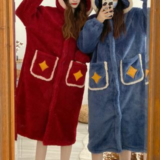 Moon City - Hooded Midi Fleece Sleep Robe