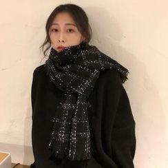 SOCOOL - 格子流苏抓毛围巾