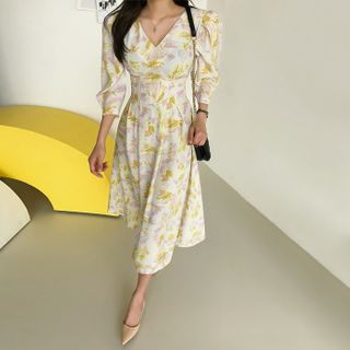DABAGIRL - Patterned Long Fit-and-Flare Dress