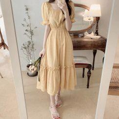Yunhouse - Short-Sleeve Square-Neck Midi A-Line Dress