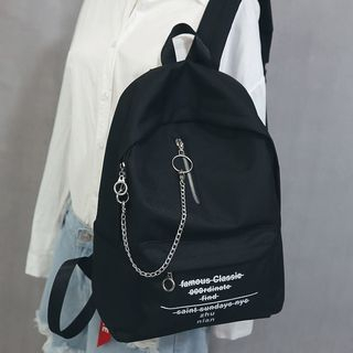 Little Days - Chain Detail Lettering Canvas Backpack