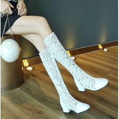 Freesia - Lace Block Heel Tall Boots