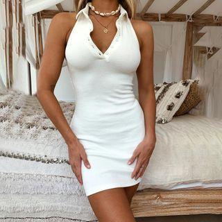 Alizio - Halter Polo Ribbed Knit Bodycon Dress