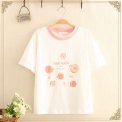 Kawaii Fairyland - Contrast-Trim Peach Print Short-Sleeve Top