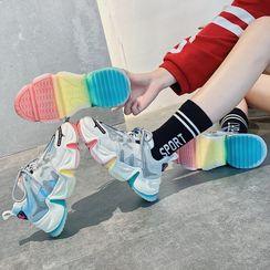 Yuki Yoru - Paneled Platform Sneakers