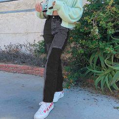 Honet - Two-Toned Straight Leg Jeans