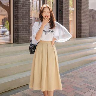 J-ANN - PLUS SIZE Elasticized-Waist Pintuck Linen Flare Skirt