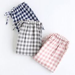 MelMount - Couple Matching Checked Pajama Pants