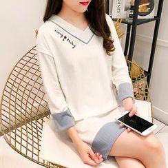 MORK - Long-Sleeve Embroidered Mini Pajama Dress