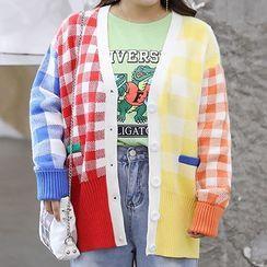 AIREN - Color Block Plaid Cardigan