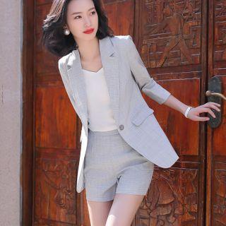 Princess Min - Plaid Blazer / Shorts / Straight Leg Pants / Camisole Top