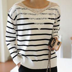 Lemite - Lace-Panel Stripe Knit Top