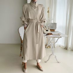 NANING9 - High-Neck Wrap Trench Coat