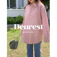 maybe-baby - Loose-Fit Linen Blend Shirt