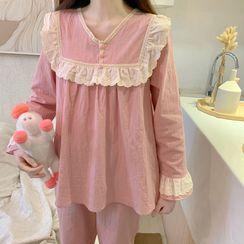AKANYA - Lace Trim Pajama Set