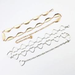 Rofuka - Alloy Feather / Heart Waist Chain