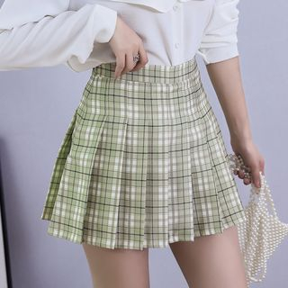 Niji Smile - Pleated Plaid Skirt with Inset Shorts
