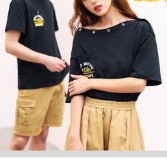 Ichiban Wear  - Couple Matching  Short-Sleeve Printed T-Shirt / Shorts / Midi A-Line Skirt