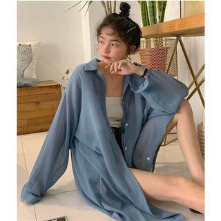 Whoosh(ウーシュ) - Sheer Longline Long-Sleeved Button-Up Shirt