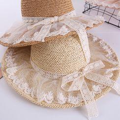 Jiggon - 蕾絲拼接草編太陽帽