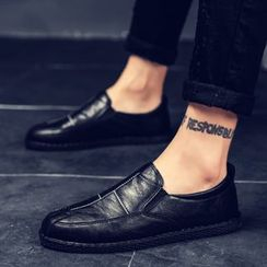 B-Z - Faux Leather Stitched Panel Loafers