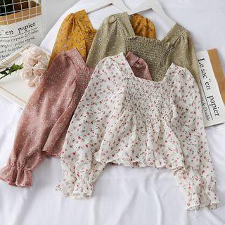 Lemongrass - Square Collar Floral Folds Chiffon Top