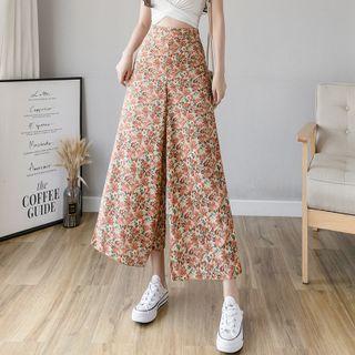 Donnae - Floral High-Waist Cropped Wide-Leg Pants