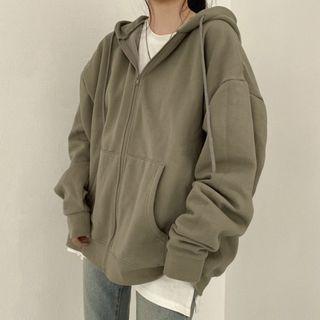 Shopherd - 纯色拉链连帽衫