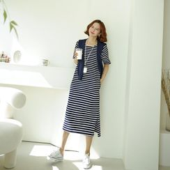 Lemite - Set: Round-Neck Striped T-Shirt Dress With Shawl
