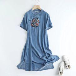 Mori Girls - Short-Sleeve Denim Qipao Dress