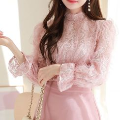 MyFiona - Mock-Neck Frilled Lace Blouse