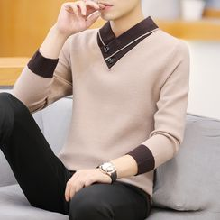 Beatit - Color Block Long-Sleeve Knit Top