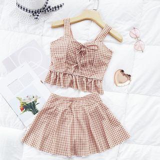Kansen - Set: Plaid Sleeveless Swim Top + Swim Skirt