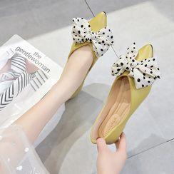 Simply Walk(シンプリーウォーク) - Polka Dot Bow Pointed Toe Flats