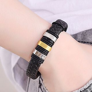 Soosina(スーシナ) - Stainless Steel Bar Woven Faux Leather Bracelet