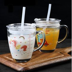 Home Simply - Printed Glass Drinking Cup with Straw