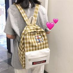 Buicase - Applique Plaid Canvas Backpack