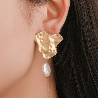Mulyork - Irregular Alloy Faux Pearl Dangle Earring